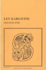 Bibliographie des oeuvres de  Lev Karsavine = Лев  Платонович Карсавин:  библиография. – Paris, 1994.  Knygos viršelis