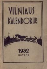 Vilniaus kalendorius. – Vilnius, 1932. Knygos viršelis